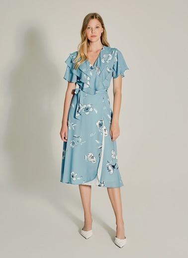 NGSTYLE Volan Detaylı Kruvaze Elbise Mavi